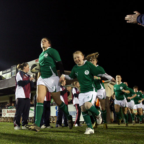Fiona Coghlan leads the Ireland team out at Ashbourne RFC