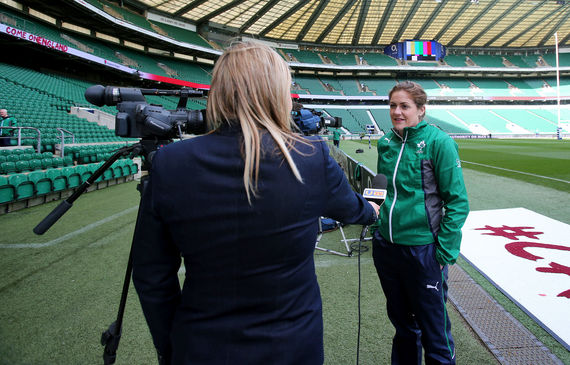Fiona Coghlan is interviewed pitchside at Twickenham