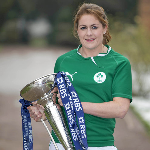 Fiona Coghlan with the Women's RBS 6 Nations trophy