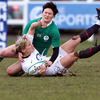 Ireland centre Joanne O'Sullivan brings England's Claire Allan to ground during Sunday's Championship encounter