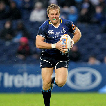 Fionn Carr takes the ball on for Leinster