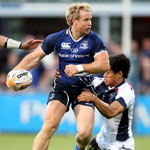 Leinster's Fionn Carr in action against the Melbourne Rebels