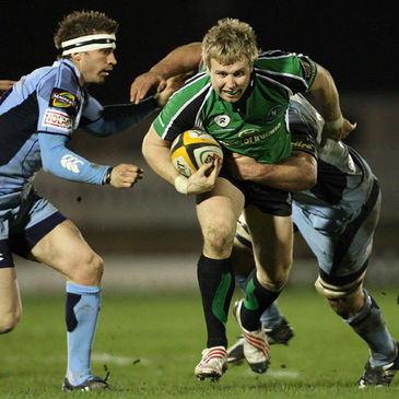 Fionn Carr on the attack for Connacht against Cardiff