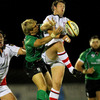 Willie Faloon, who replaced the injured Stephen Ferris, challenges Connacht winger Fionn Carr for a high ball