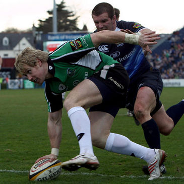 Connacht winger Fionn Carr scores his second try against Leinster