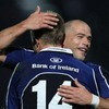 A delighted Felipe Contepomi congratulates birthday boy Luke Fitzgerald after another fine touchdown