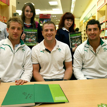 Luke Fitzgerald, Jamie Heaslip and Rob Kearney at Wednesday's book signing
