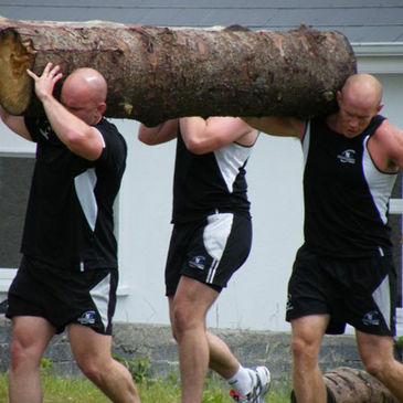 Adrian Flavin and Johnny O'Connor get to grips with a log