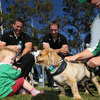 John Fogarty and Tomas O'Leary laugh as an Ireland-shirted toddler reacts to a overly friendly dog