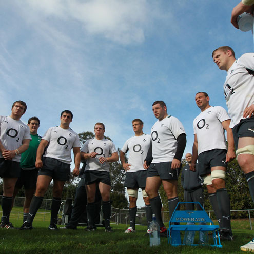 The Ireland forwards are pictured during a training session