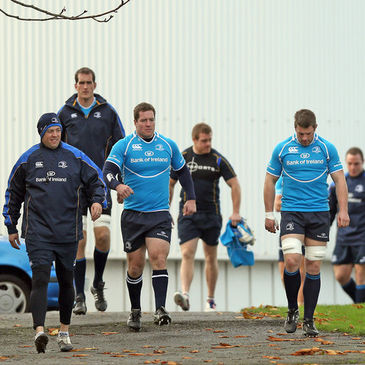 The Leinster forwards make their way to training