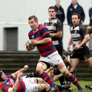 Back rower Frank Cogan breaks forward for Clontarf