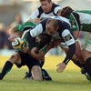 Connacht scrum half Frank Murphy is caught in possession by Leinster's Springbok prop CJ Van Der Linde