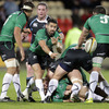 The Connacht forwards offer protection at a ruck as scrum half Frank Murphy fires a pass away