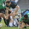 Connacht scrum half Frank Murphy and Glasgow's Graeme Morrison compete for possession