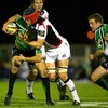 Connacht scrum half Frank Murphy is caught in possession by Edinburgh's Scott Newlands