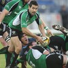 Connacht scrum half Frank Murphy sends a pass out from a ruck at the Sportsground