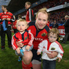 Former Ireland hooker Frankie Sheahan, who is bowing out with Munster, is pictured with his two little ones