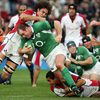 Ireland's Frankie Sheahan gets tackled by Daniel Leo of Pacific Islands
