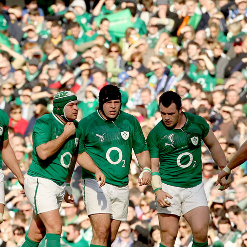 Ireland's front row of Rory Best, Mike Ross and Cian Healy