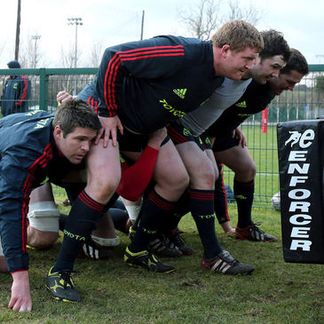 Munster practise their scrummaging in Cork