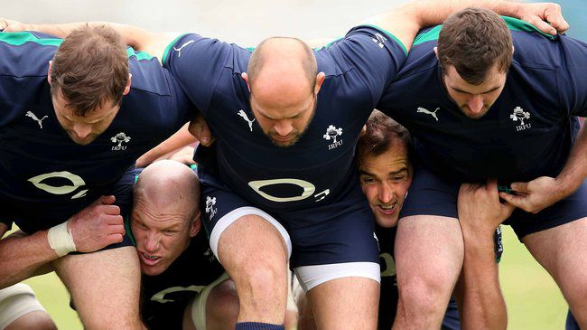 The Irish forwards practise their scrummaging