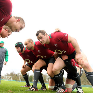 The Ireland front row of Mike Ross, Rory Best and Cian Healy