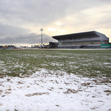 The frozen pitch at the Sportsground