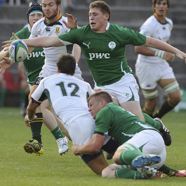 Tadhg Furlong and Jordi Murphy in action in Padova