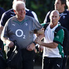 Peter Stringer shares a joke with Ireland backs coach Alan Gaffney on the way to training