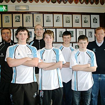 Gavin Duffy, Greg Payne and Gerry Conway with some of the young Galwegians players
