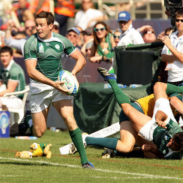 Gary Brown on the attack for Ireland Sevens