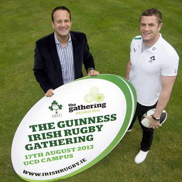 Leo Varadkar TD and Jamie Heaslip launch the Irish Rugby Gathering