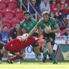 New Scarlets captain Matthews Rees tries to halt the progress of Connacht full-back Gavin Duffy
