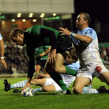 Gavin Duffy is pictured scoring against Bayonne