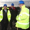 David Humphreys and Michael Reid oversee the ground work underway on the new Ravenhill stand with Damian Heron of the main contractors