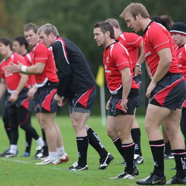 The Ulster players take part in a training drill