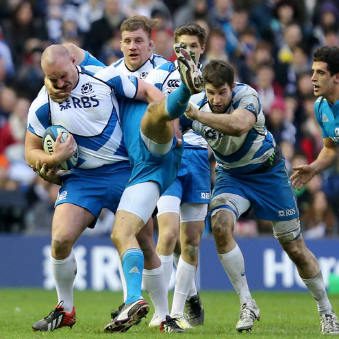 Geoff Cross drives forward for Scotland