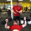 Geordan Murphy, Ireland's 72-times capped full-back, gets some encouragement from Eoin Reddan during the weights session