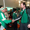 This green-clad Ireland fan warmly greeted Geordan Murphy, who won cap number 71 in the win over the Americans