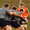 Marcus Horan, John Fogarty and Geordan Murphy are pictured training with the Irish squad in Rotorua