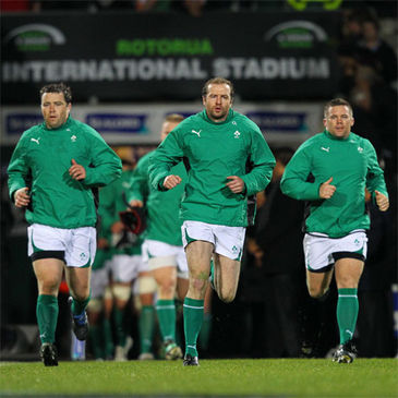 Geordan Murphy leads the Ireland team out in Rotorua