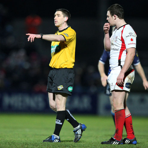 George Clancy refereeing a Magners League match earlier in the season