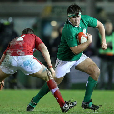 Hooker George McGuigan in action for the Ireland Under-20s