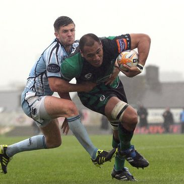 George Naoupu in action against Cardiff