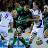 George Naoupu, a strong ball carrier as ever for Connacht, is closed down by Leinster's John Cooney and Devin Toner