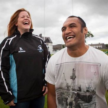Galwegians team manager Shona O'Flaherty and head coach George Naoupu