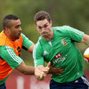Simon Zebo gets a tackle in on George North, who scored a memorable try in the series opener and has retained his starting place for the second and third Tests