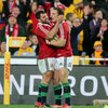 Alex Corbisiero congratulates fellow try scorer George North after the big winger scored his second try of the Test series