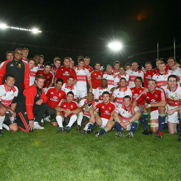 The Golden Lions and British & Irish Lions are pictured together after the match
